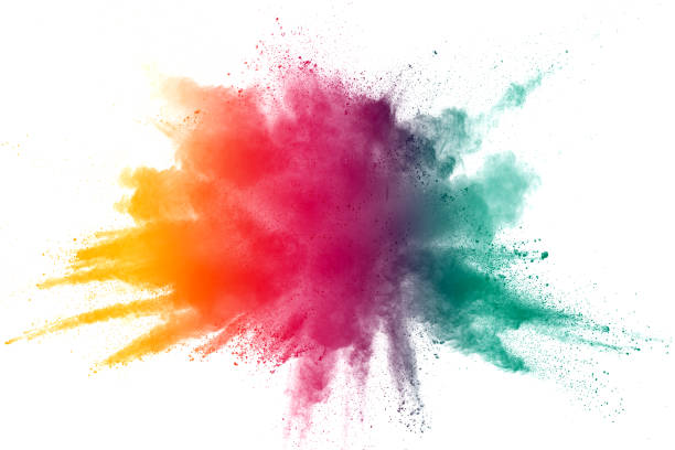 abstract color powder explosion on  white background.freeze motion of dust splash. - colore descrittivo foto e immagini stock