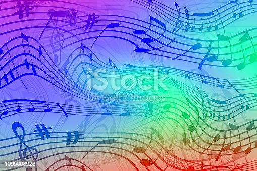 Abstract colored background on the theme of music. Background of wavy and colored stripes. Background of stylized musical notes.