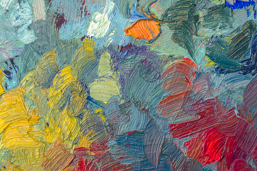 Abstract colored background with oil paints. Hand painted texture. Close up. Copy space.