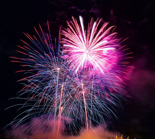 Abstract colored firework background used for overlay new year festival. stock photo