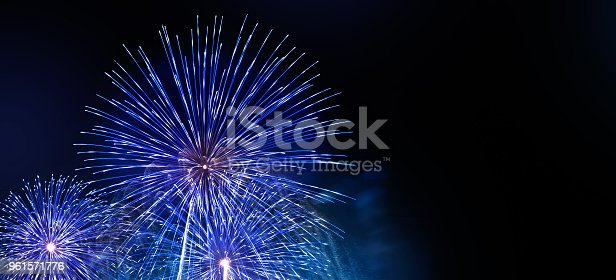 istock Abstract colored firework background with free copy space for text. Colorful celebration and anniversary concept for your design 961571776