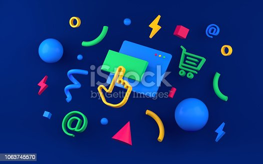 istock Abstract colored geometric shapes for web design. 3d render 1063745570