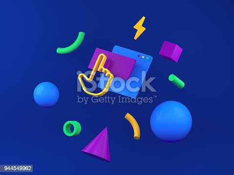 istock Abstract colored geometric shapes for web design. 3d render 944549962