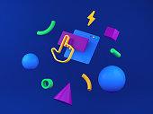 3d illustration, web content, interface web site