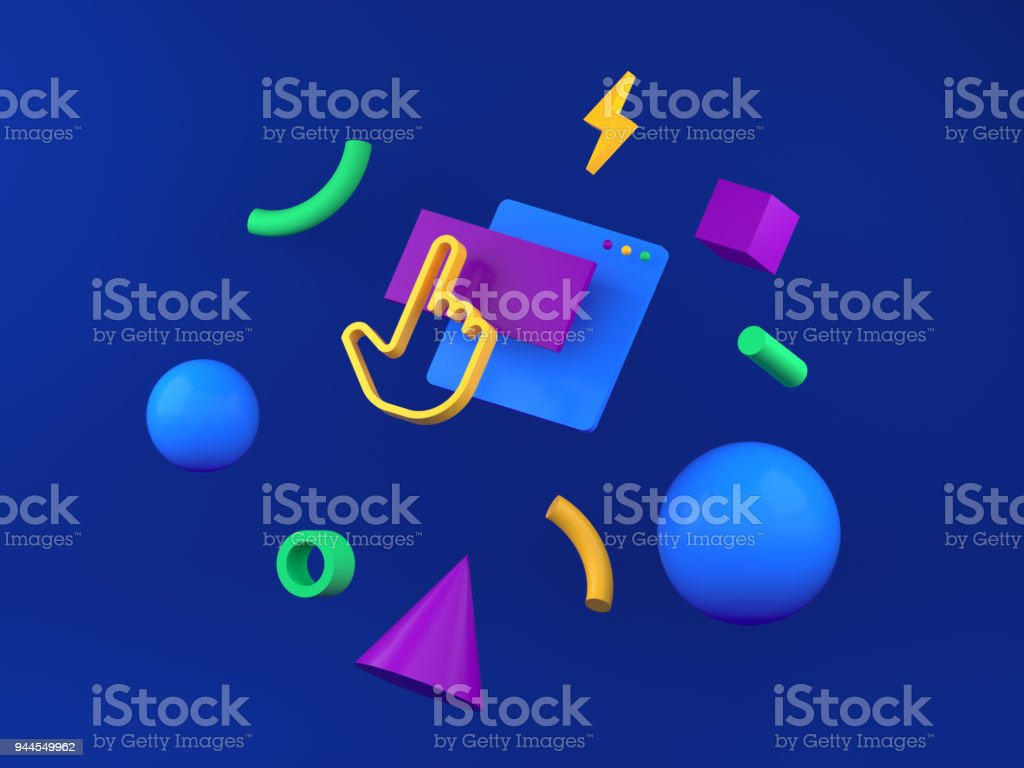 Abstract colored geometric shapes for web design. 3d render stock photo