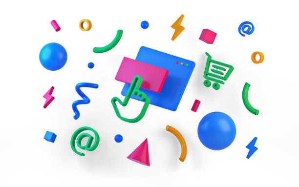 abstract colored geometric shapes on white background. 3d render - advertising isometric stock photos and pictures