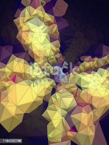 520740170 istock photo Abstract colored polygonal mosaic background. Triangular geometric style. 3d rendering 1164202786