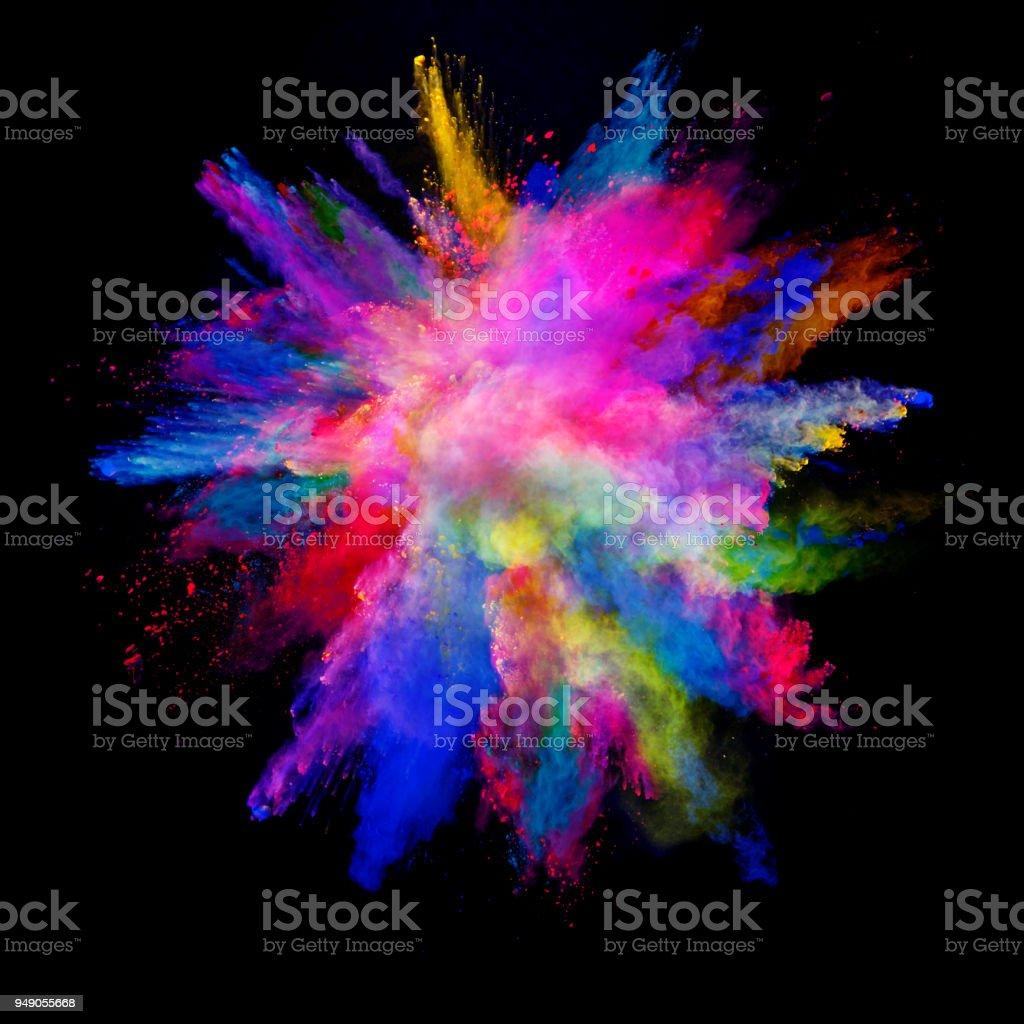 黒の背景に分離された抽象的な色粉爆発。 ストックフォト
