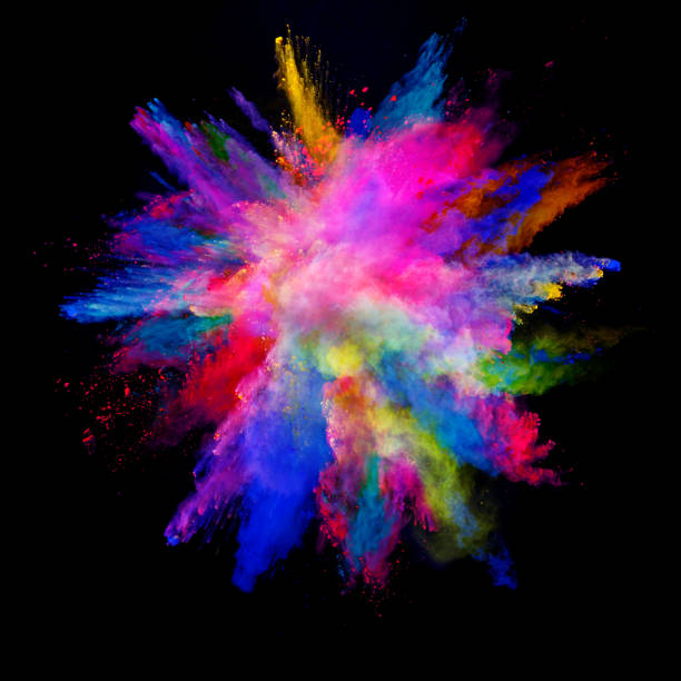abstract colored powder explosion isolated on black background. - colore descrittivo foto e immagini stock