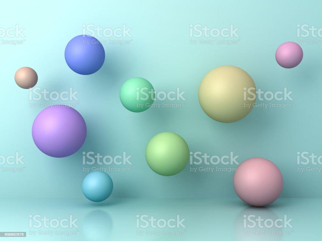 Abstratas 3d voa esferas coloridas em fundo ciano com reflexão e sombras. 3D render - foto de acervo