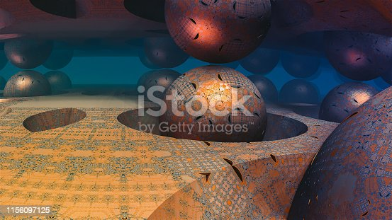 941338268istockphoto Abstract colorful 3D sphere fractal illustration with blue background 1156097125