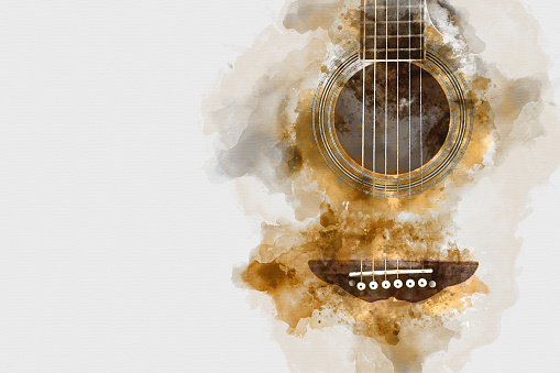 Abstract colorful acoustic guitar watercolor illustration painting background.