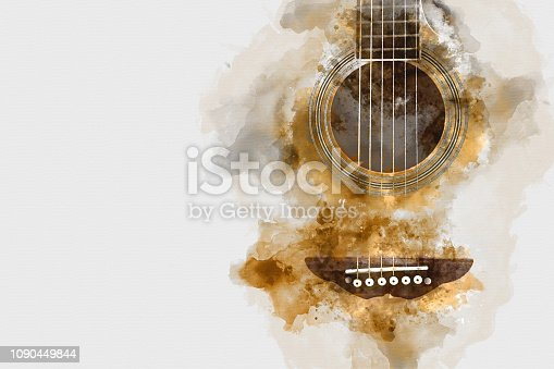 istock Abstract colorful acoustic guitar watercolor illustration painting background. 1090449844