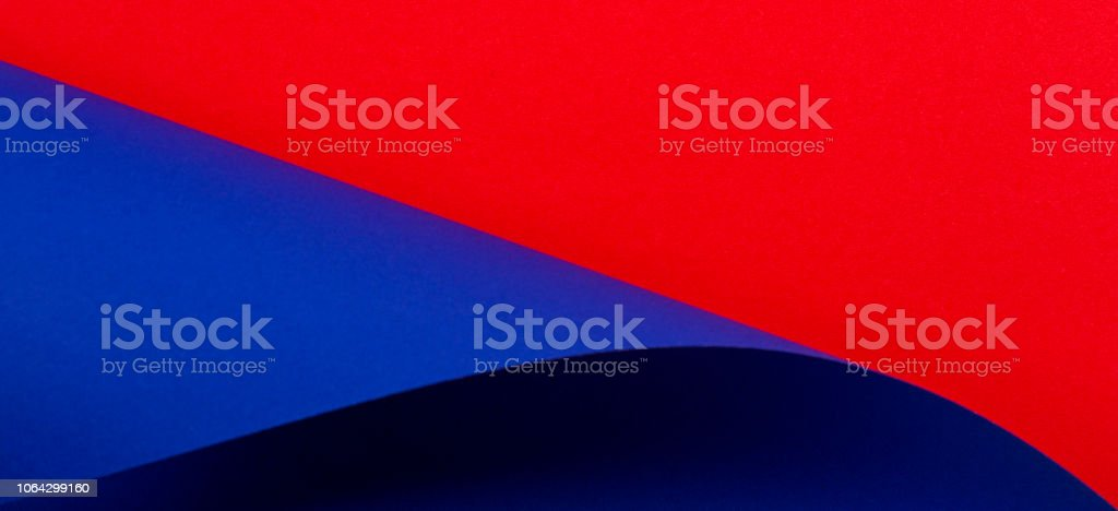 Abstract colorful background. Red and blue color paper in geometric shapes stock photo