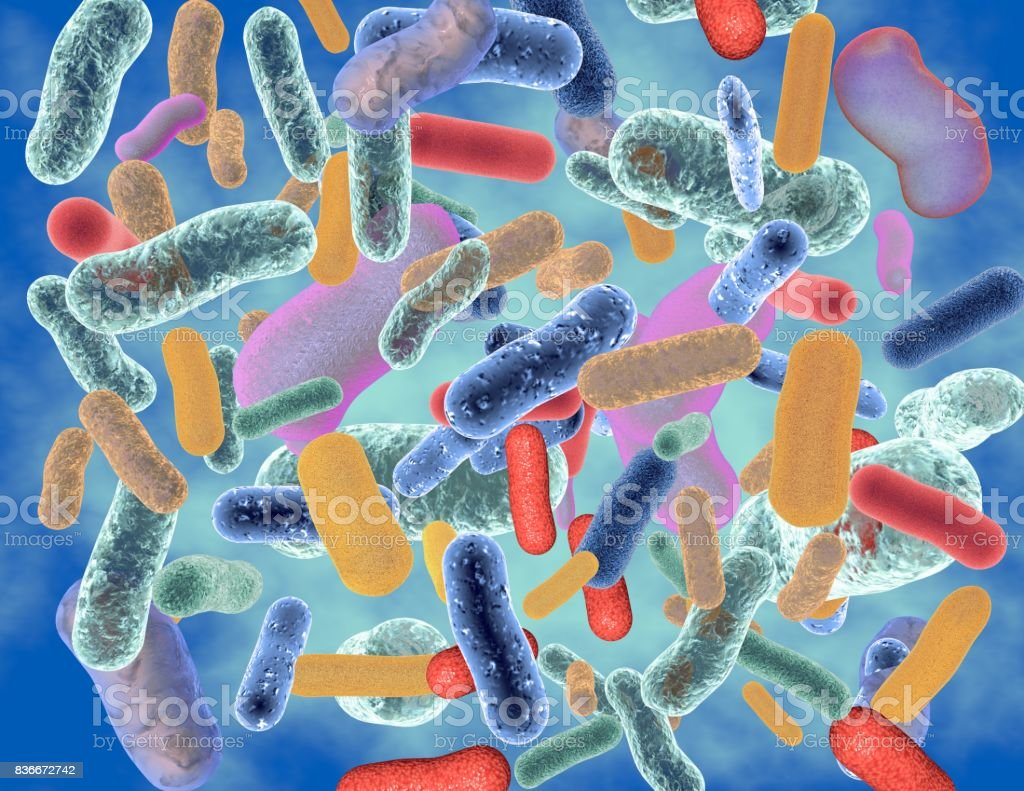 Abstract colorful bacteria 3D illustration. - foto stock