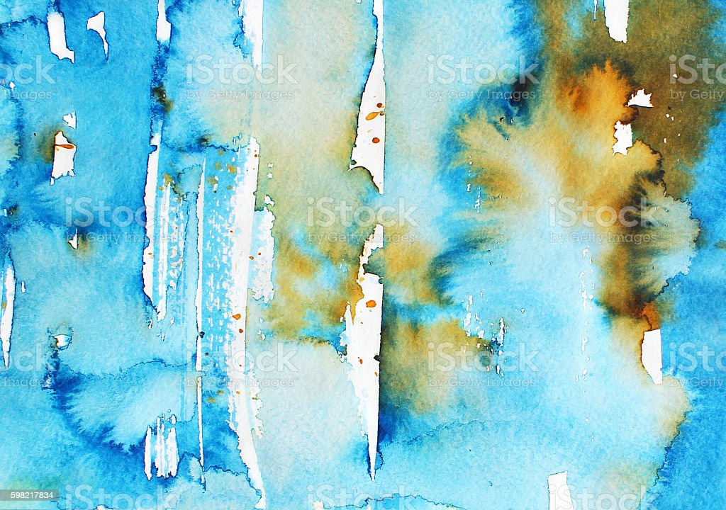 Abstract colorful blue watercolor background. stock photo