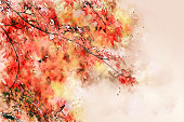 Abstract colorful branch tree on watercolor illustration painting background.