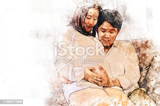 istock Abstract colorful close-up pregnant woman with husband and hug on white background on watercolor illustration painting background. 1198071666
