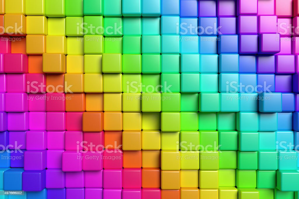 Abstract colorful cubes 3d background stock photo