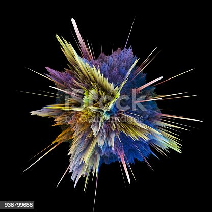 istock Abstract colorful explosion isolated on black background. Hi-res illustration for your brochure, flyer, banner designs and other projects. Explosion lighting effect. 3D render illustration. 938799688