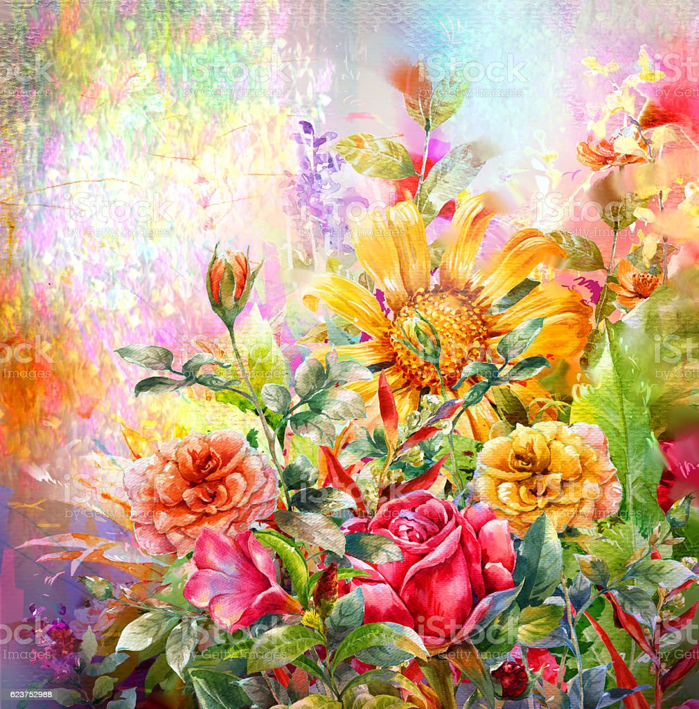 Abstract colorful flowers watercolor painting stock photo