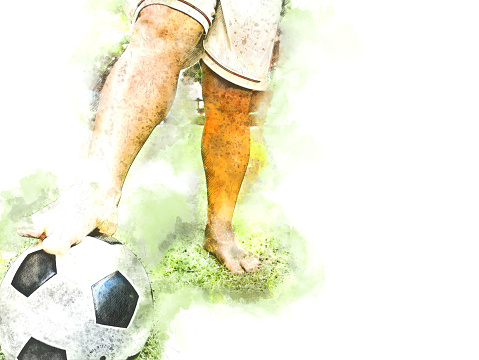 Abstract colorful football player and ball on watercolor painting background.