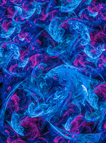Abstract colorful  fractal artwork background, creative design element ,waves in blue and magenta tones.