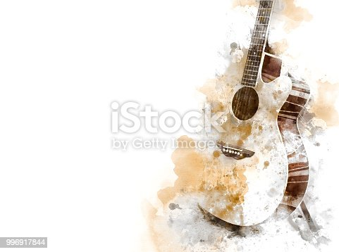 istock Abstract colorful Guitar in the foreground on Watercolor painting background and Digital illustration brush to art. 996917844