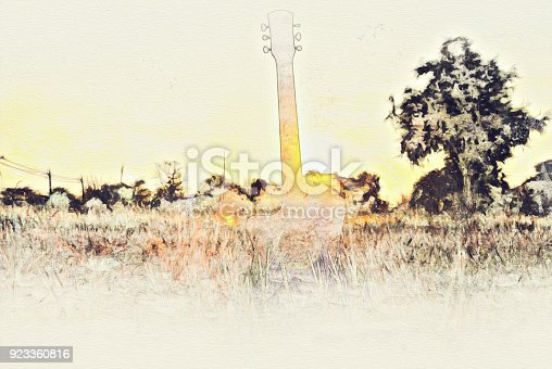 istock Abstract Colorful guitar nd landscape tree on watercolor painting background. 923360816