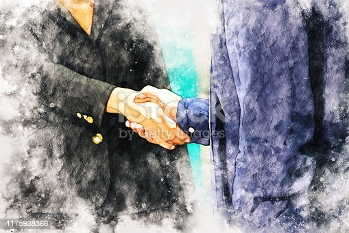 istock Abstract colorful handshake business on watercolor illustration painting background. 1175938366