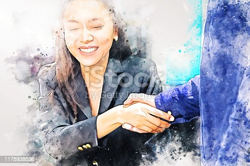 istock Abstract colorful handshake business on watercolor illustration painting background. 1175938536