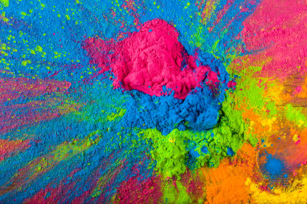 Abstract colorful Happy Holi background. Color vibrant powder on wood. Dust colored splash texture. Flat lay holi paint decoration Abstract colorful Happy Holi background. Color vibrant powder on wood. Dust colored splash texture. Flat lay holi paint decoration. colored powder stock pictures, royalty-free photos & images