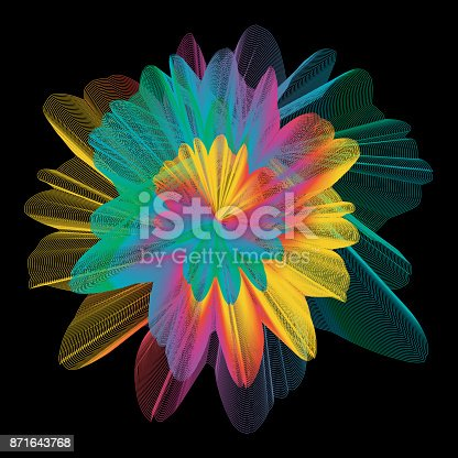 637797672 istock photo Abstract colorful line art and painting background. Energetic macro flower inspirational concept. 871643768