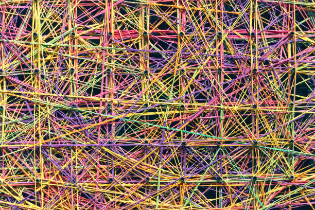 abstract colorful linked strings - string stock photos and pictures