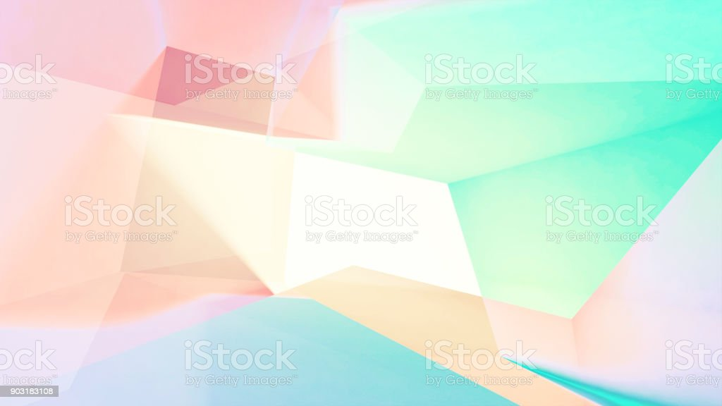 Abstract colorful low-poly digital background, 3d illustration with double exposure effect stock photo