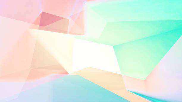 抽象的なカラフルなローポリ デジタル背景、二重露光効果と 3 d イラスト - プリズム ストックフォトと画像