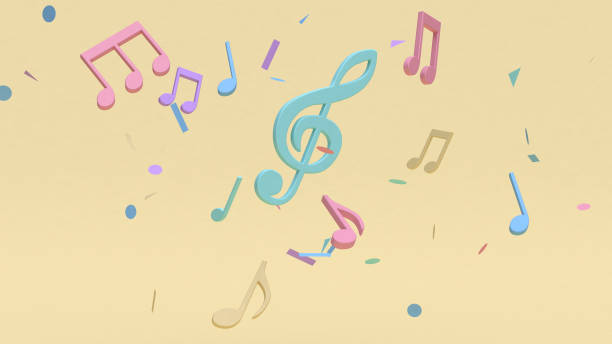abstract colorful many music note,key sol cartoon style soft yellow minimal background 3d rendering abstract colorful many music note,key sol cartoon style soft yellow minimal background 3d rendering musical note stock pictures, royalty-free photos & images
