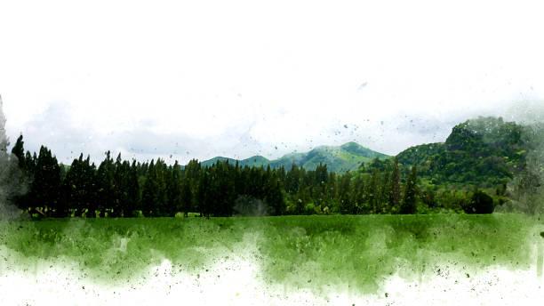 abstrakten bunten berg und feld landschaft auf aquarell illustration malerei hintergrund. - himmel bilder stock-fotos und bilder