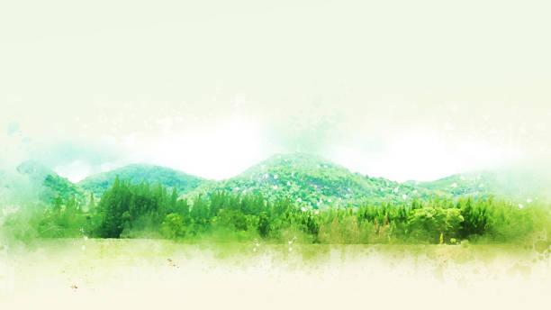 abstrakten bunten berg und feld landschaft auf aquarell illustration malerei hintergrund. - farbfeldmalerei stock-fotos und bilder
