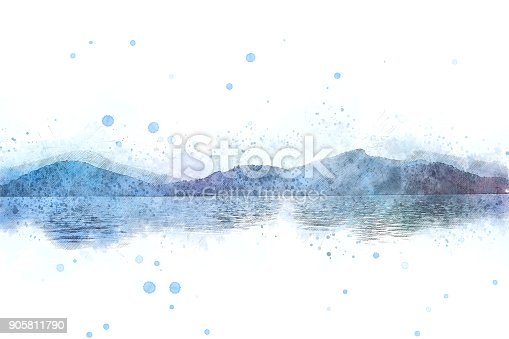 istock Abstract Colorful mountain peak landscape on watercolor painting background. 905811790