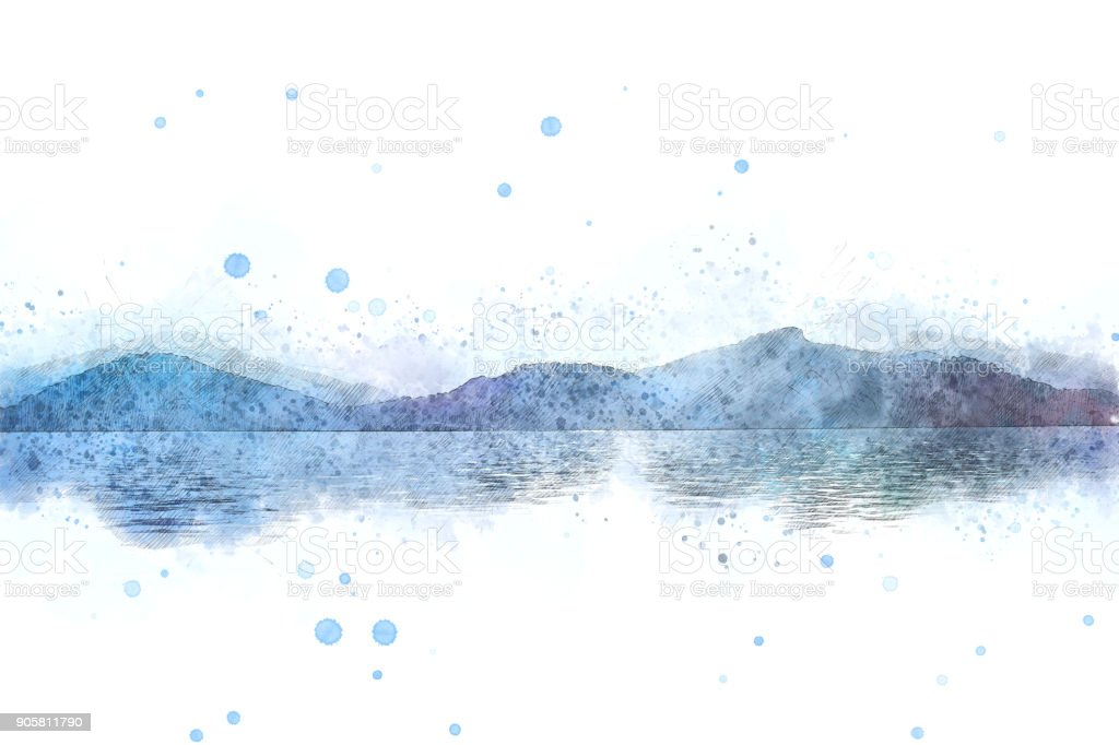 Abstract Colorful mountain peak landscape on watercolor painting background. stock photo
