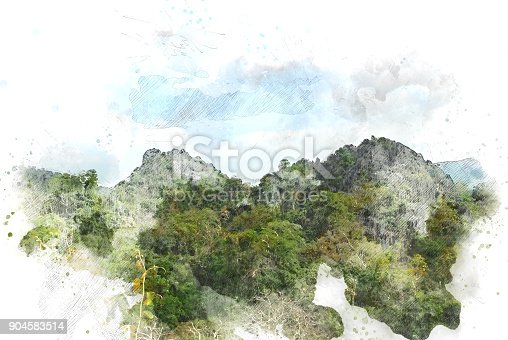 istock Abstract Colorful mountain peak on watercolor painting background. 904583514