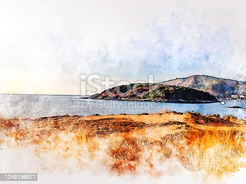 Abstract colorful mountain range and sea in Phuket, Thailand on watercolor illustration painting background.