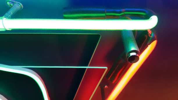 Abstract colorful neon light detail on the wall stock photo