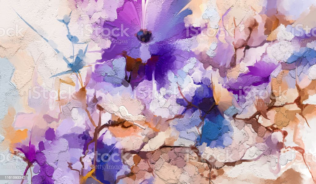 Abstract Colorful Oil Acrylic Painting Of Spring Flower Hand