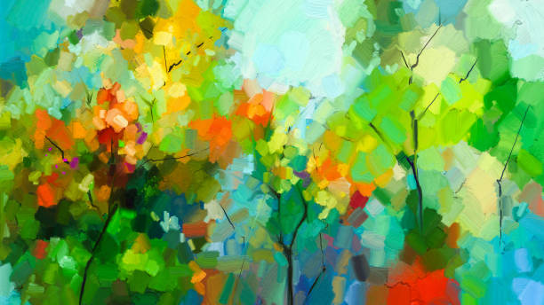 Abstract colorful oil painting landscape on canvas stock photo