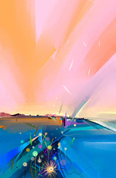 Abstract colorful oil painting landscape stock photo
