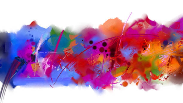 Abstract colorful oil painting on canvas texture stock photo