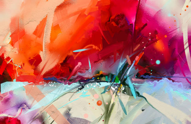 Abstract colorful oil painting on canvas texture. stock photo