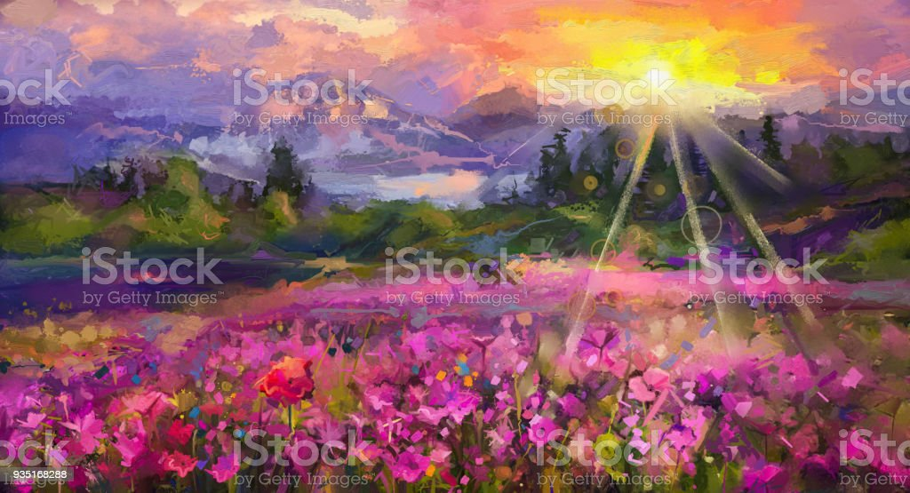 Abstract colorful oil painting purple cosmos flower stock photo